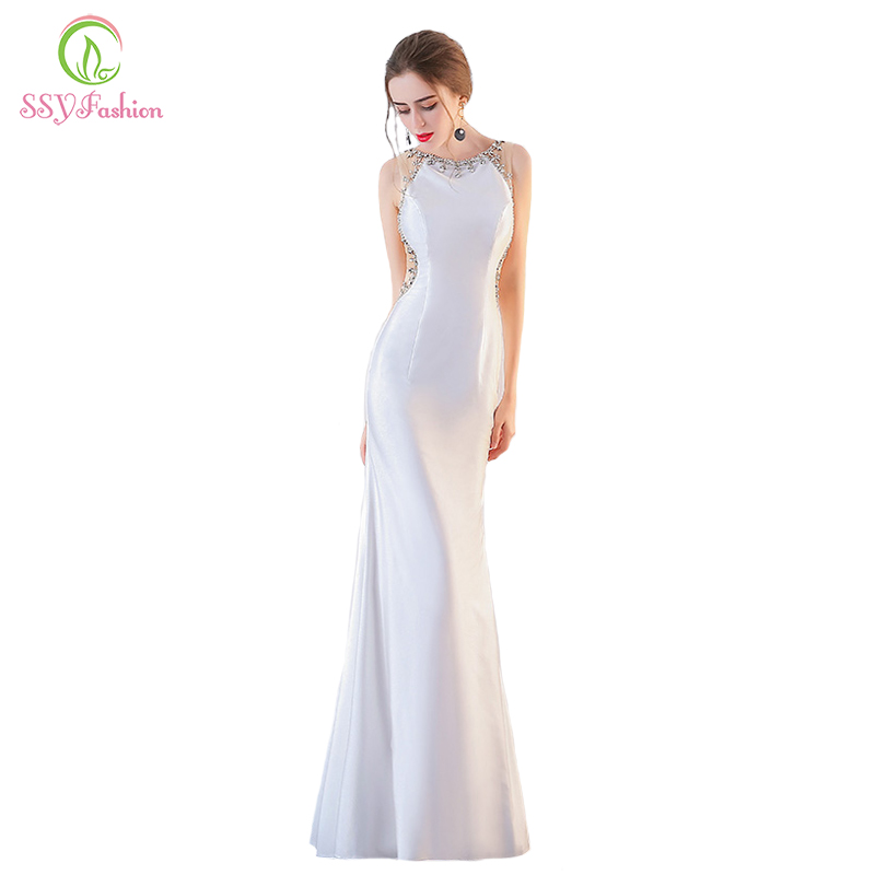 Ssyfashion 2018 New Sexy Mermaid Evening Dress Sleeveless Beading