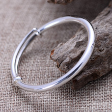 Thai silver 990 fine silver jewelry simple smooth female models live on adjustable bracelet free shipping koraba fine jewelry natural millettia dielsiana bracelet retro couple gifts free shipping