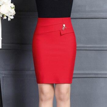 Novedad de 2019, falda de oficina para mujer, moda informal, broche de Color sólido para oficina, paquete de cintura alta, falda a la cadera, minifalda roja y negra
