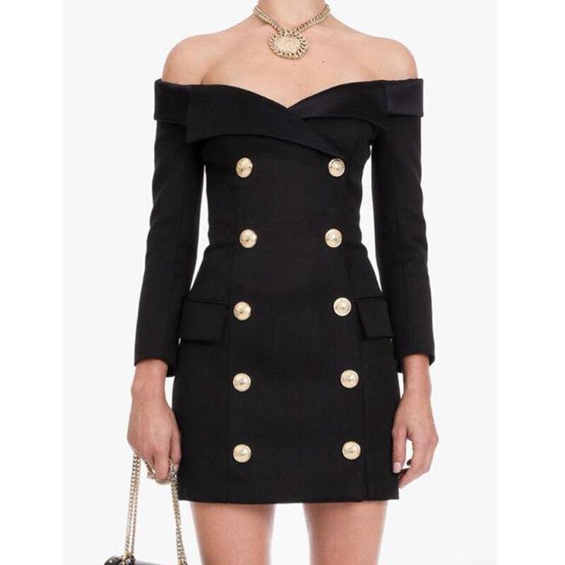 Long Blazer 2020 New Fashion Designer Women Double Breasted Elegant Sexy Off Shoulder Slim Jacket Coat Blazer Female OL Outwear