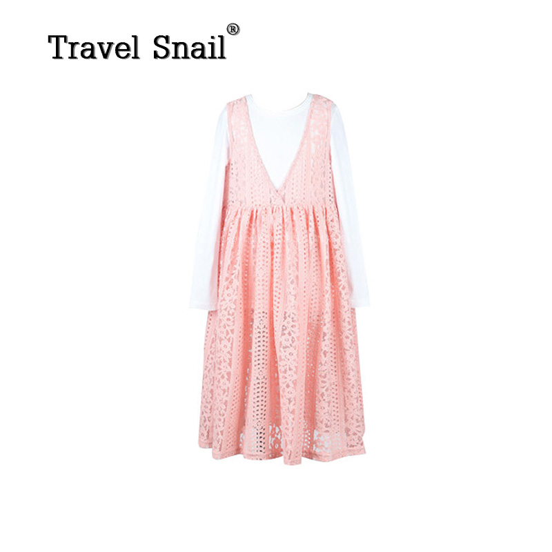 Travel snail 3-9 yrs baby girls t-shirts+dress sets children tops kids dresses for girls customs lace sets cotton 2018Spring New sales size 100 spring autumn dress sets for girls christmas style red dress white cotton sleeved shirts tops 2 pc clothing