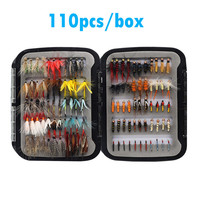 110pcs Wet Dry Fly Fishing Flies Lure Set Fly Tying Material Wet hand tied Nymph Flies for Trout Pike