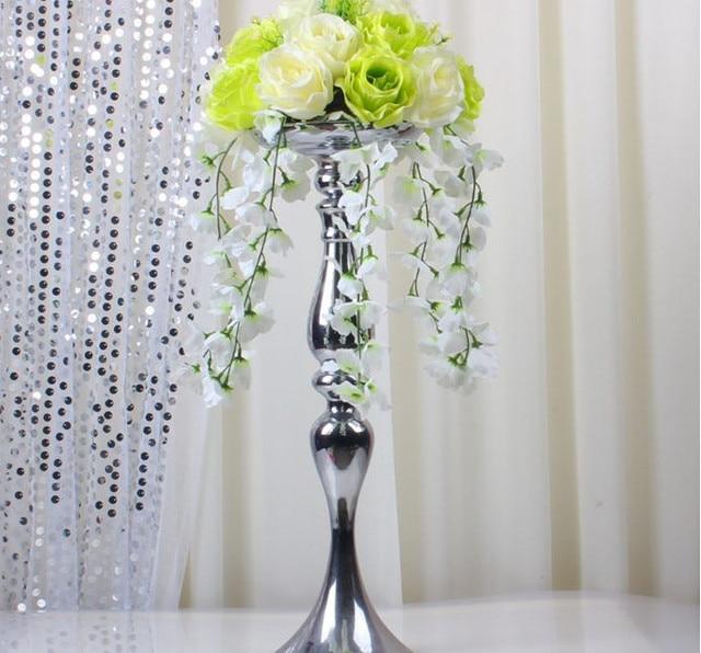 10pcs/lot 47cm Heightl Silver Flower Wase Flower Ball Wedding Pillar ...