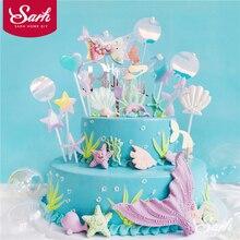 Cola de pez de concha brillante para pastel, estrella de mar para el Día de los niños, suministros de fiesta de boda, regalos adorables para hornear