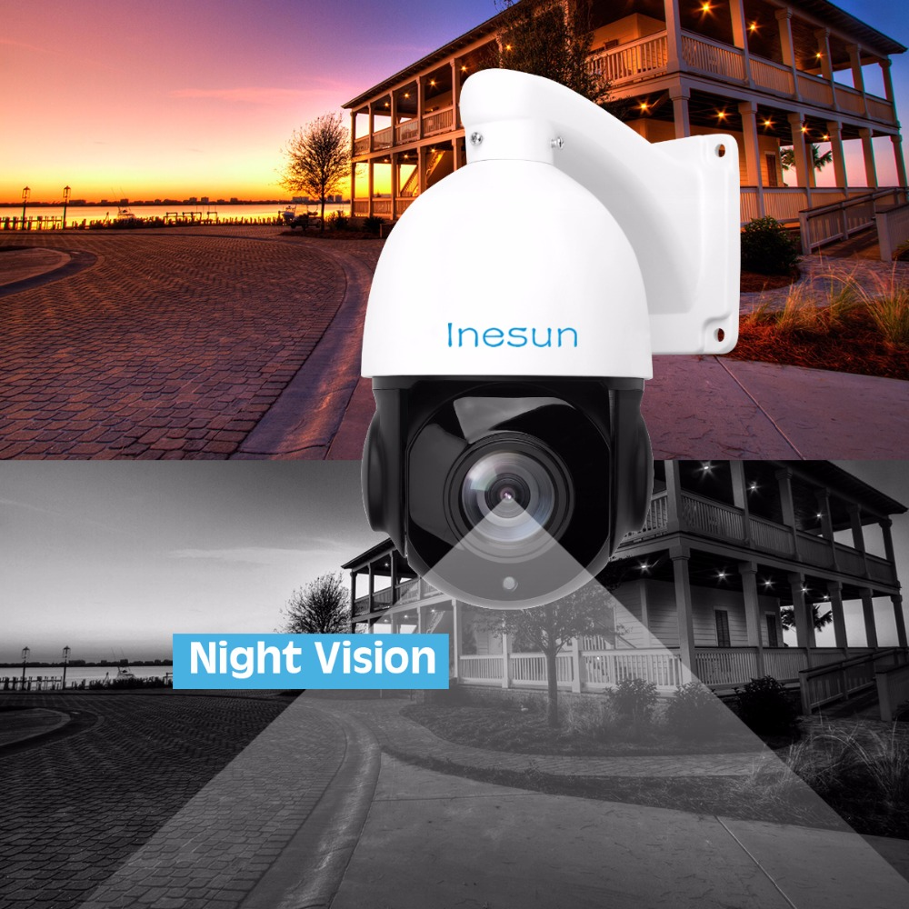 Inesun 5MP PoE PTZ IP Camera Super HD 2592x1944 Outdoor Network Onvif Speed Dome 30X Optical Zoom 80m IR Night Vision 2 Pack in Surveillance Cameras from Security Protection