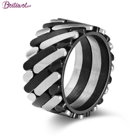 Beiliwol Men Rings Punk Jewelry 316L Stainless Steel Novelty Black And Silver Color Vintage Design Drop