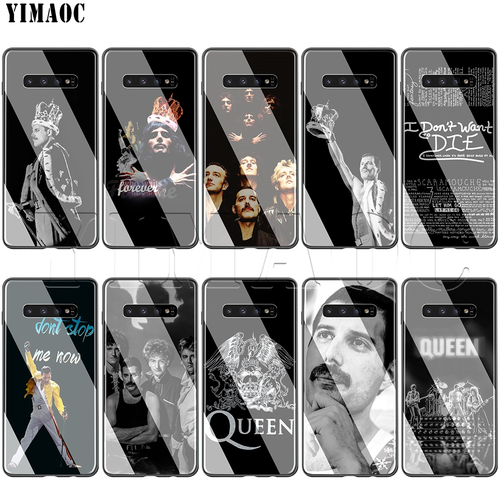 YIMAOC Queen Freddie Mercury Glass Case for Samsung Galaxy S7 S8 S9 S10 Plus Note 8 9 10 A50 A20 A10 A70