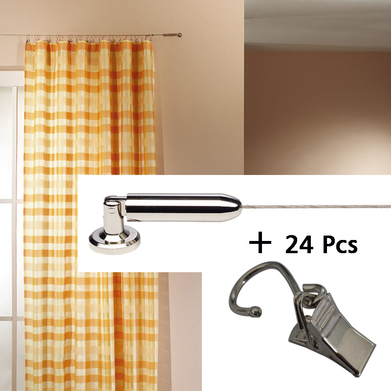 5M Curtain Drapery Drape Wire Rod Set And 24 Clips,Race , Curtain Accessories For Window Decoration