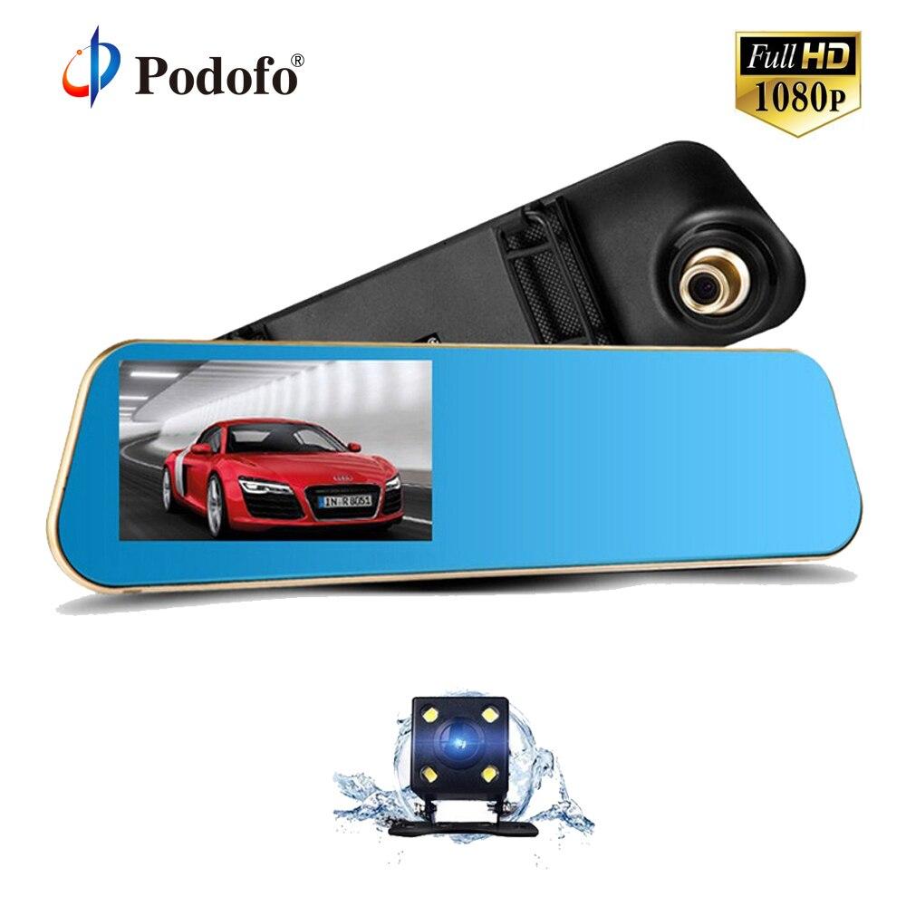 Podofo 4.3 Inch Car Dvr Camera Full HD 1080P Automatic Camera Rear View Mirror with Dual Lens DVR Camera Auto Recorder Dashcam
