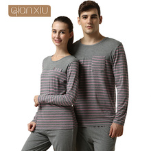 Qianxiu пижамы для женщин сбытовая сна и отдыха Большой размер с длинными рукавами свободного покроя пижамы комплект