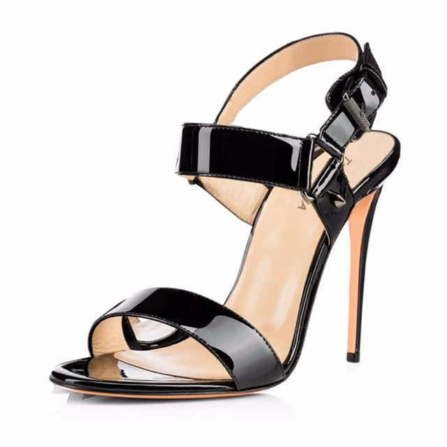 7cec7630e136 Shiny Black Nude Red Sandals 2018 For Women Open Toe Buckle Strap Ladies  Strappy High Heel