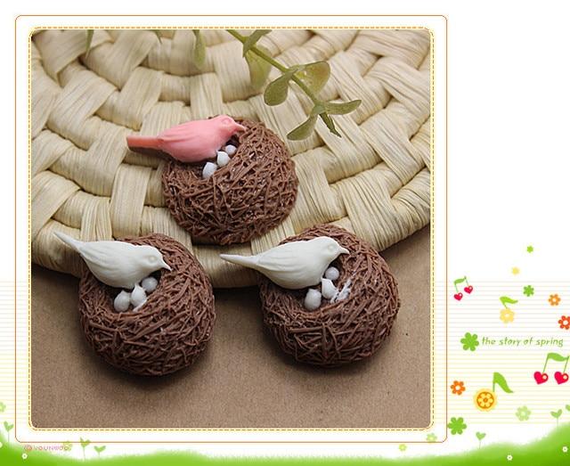 Оптовая 50 шт. мило 3D смолы птица nest камея для DIY микро пейзаж украшения, 26*35 мм
