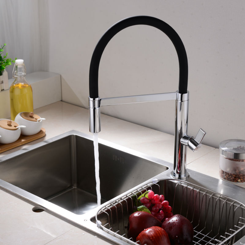 360 Swivel Solid Brass Spring Kitchen Faucet Sink Mixer Tap Swivel Spout Mixer Tap Hot and Cold Water Torneira led spout swivel spout kitchen faucet vessel sink mixer tap chrome finish solid brass free shipping hot sale