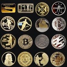 1 шт Тайная вечеря масонский Титаник слиток бар монеты золото посеребренный щит Биткоин Майя Трамп Месси коллекция монет