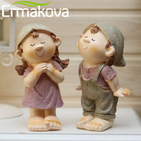 2 Pcs Pair Resin Pastoral Doll Boy Sitting Figurine Girl Resting Her Chin Statue Lovers Couple