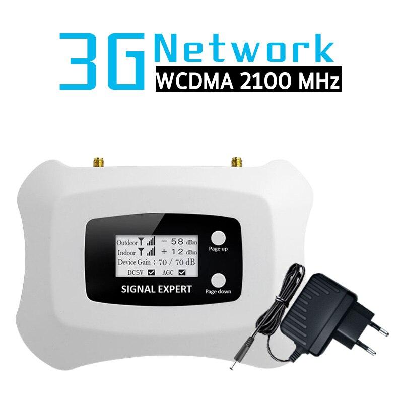 3G WCDMA 2100 amplificateur de Signal Mobile 70dB bande de Gain 1 3G WCDMA 2100 MHz 3G UMTS amplificateur de répéteur de Signal cellulaire affichage LCD