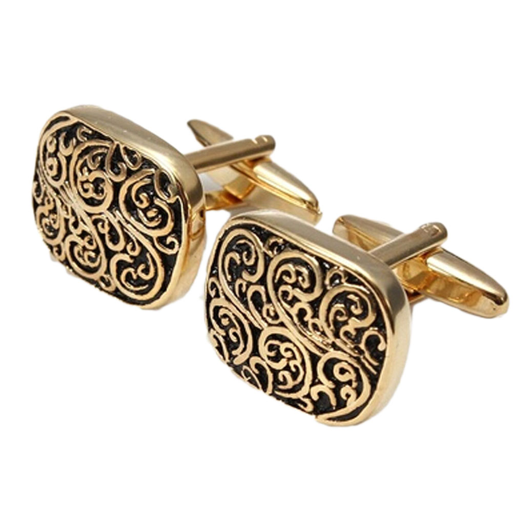 Gift Boxed Gold Rome pattern Design Cufflinks Mens Cuff Links For Wedding Wholesale Gift,DROPSHIOING