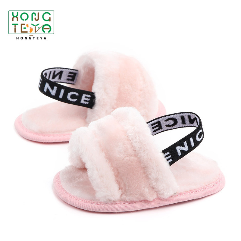 Fur Sneakers Baby Summer Shoes Sandals Soft Fluffy Sole Newborn Toddler Girl