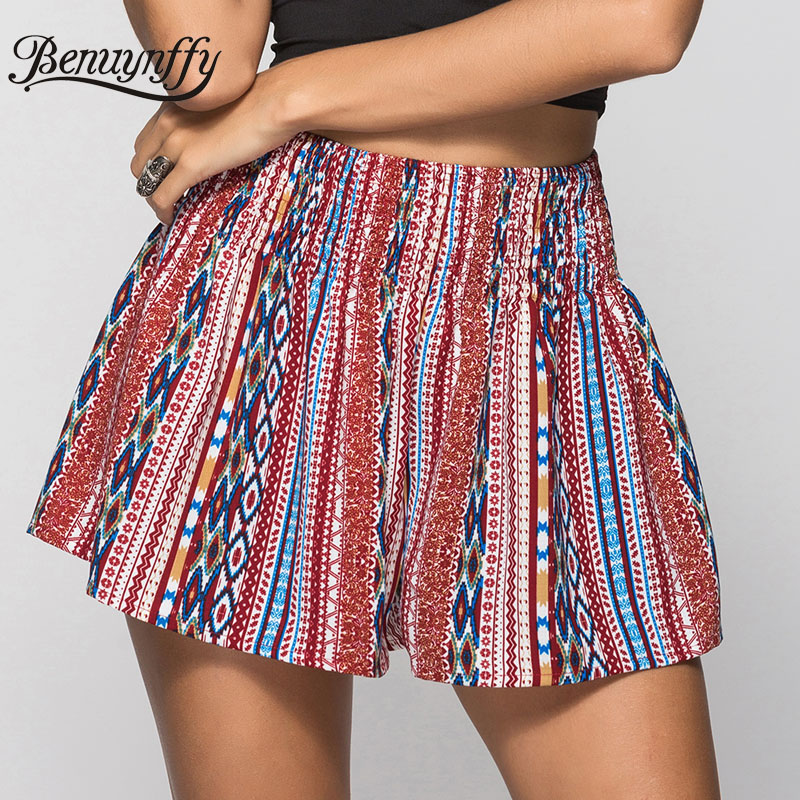 Benuynffy Ethnic Boho Print Summer Shorts 2019 Hot New Women Casual Loose Elastic Hight Waist Wide Leg Shorts Female Beach Wear