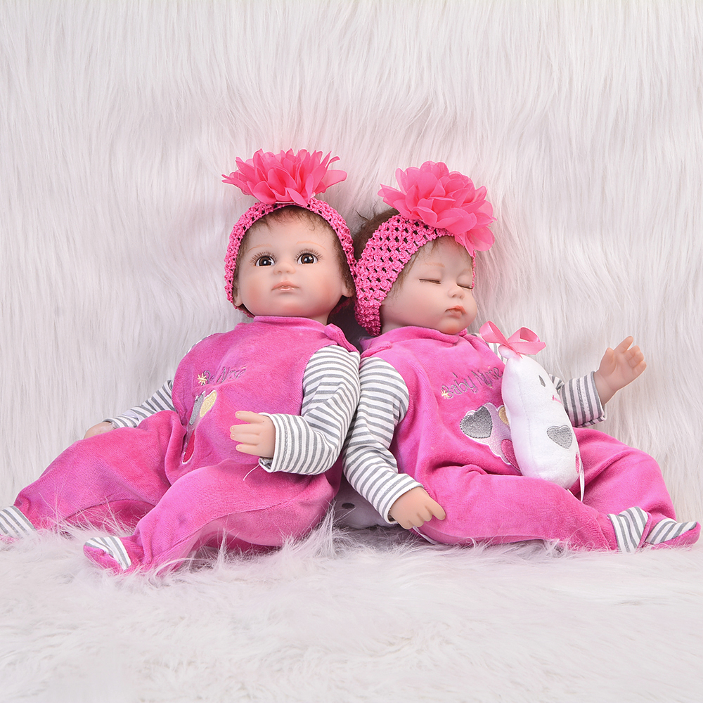 Hot 17 Inch Twins Doll Reborn Babies Soft Silicone Newborn Dolls Open and Sleeping Girls For Children Birthday Gifts Baby Toys 25cm rabbit plush doll stuffed baby simulated babies sleeping dolls children toys birthday gift for babies 4 colors doll reborn