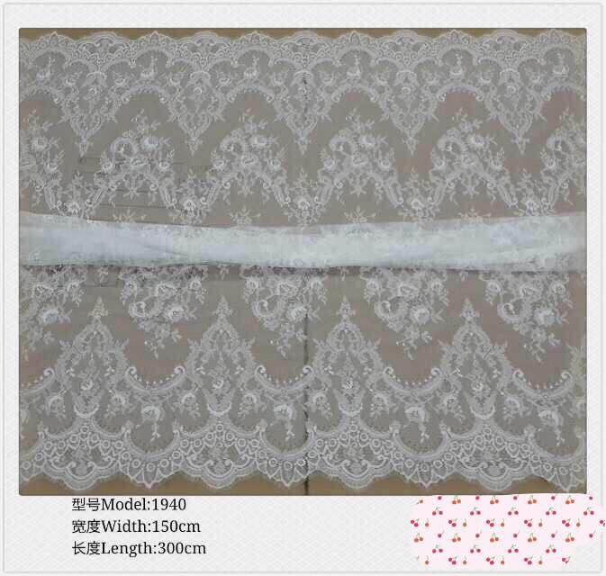 New Spun Lace Non wove Fabric 3 Yards Off White full lace cotton Lace Fabric For DIY Dress swiss voile lace front <font><b>wig</b></font> fabric image