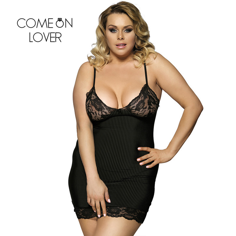 Comeonlover Vertical Stripe Sexy Lingerie Nightwear Underwear Large Size 6XL Plus Size New Porn Women Lingerie Sex RI7391