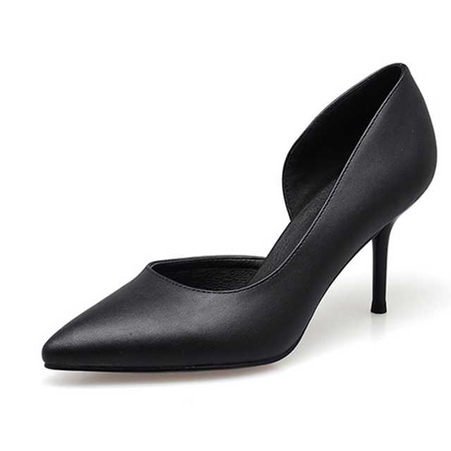 High Quality Genuine Leather Women Shoes 7.5cm High Heel Slip on Fashion Sexy Thin Heels Fashion Red Woman Pumps For Girls 2017