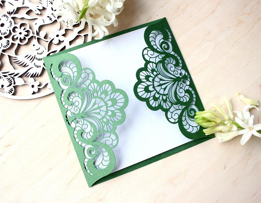 Us 8 69 13 Off 50pcs Dark Green Wedding Invitation Laser Cut Custom Invitations Personalized Greeting Card Elegant Ornament In Cards
