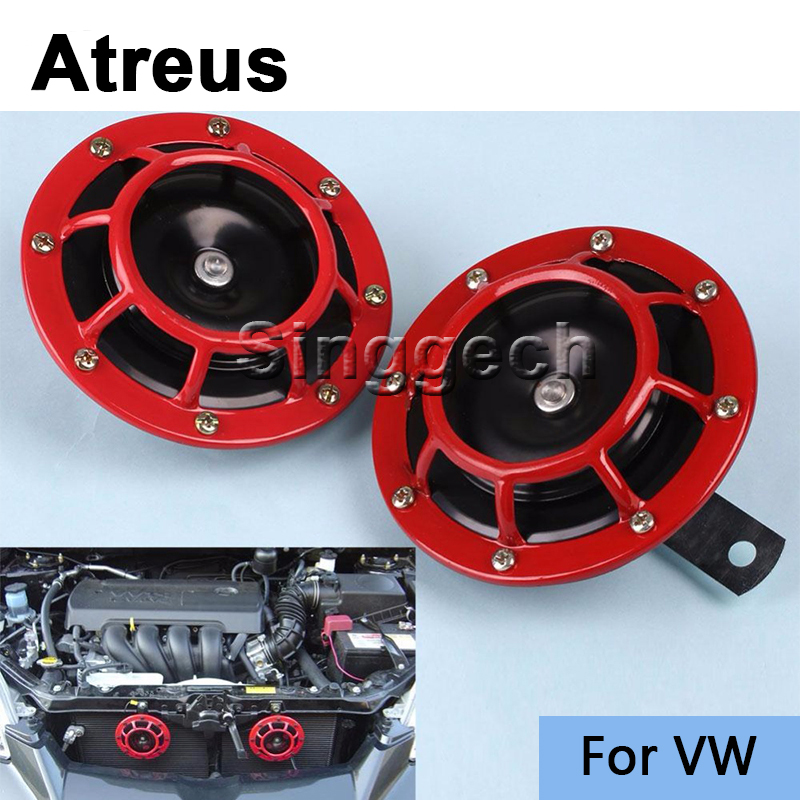 Atreus Car Stickers Red Electric Blast Tone Horn Kit For Volkswagen VW Polo Passat B5 B6 CC Golf 4 5 6 7 Touran T5 Tiguan Bora 12v car red electric blast tone horn kit for lexus rx nx gs ct200h gs300 rx350 rx300 for alfa romeo 159 147 156 166 gt mito
