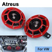 Atreus Car Stickers Red Electric Blast Tone Horn Kit For Volkswagen VW Polo Passat B5 B6 CC Golf 4 5 6 7 Touran T5 Tiguan Bora