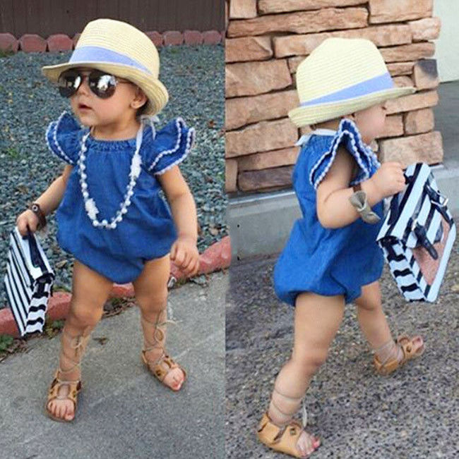 цена на 2017 Hot Sale Summer Toddler Kids Baby Girls Infant Clothes Denim Rompers Jumpsuit Outfits Girls Rompers