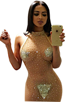 RK80244 Plus Size Tenue Sex Erotic Skin Color Pearls Sex Clubwear Party Night Club Dress Mesh