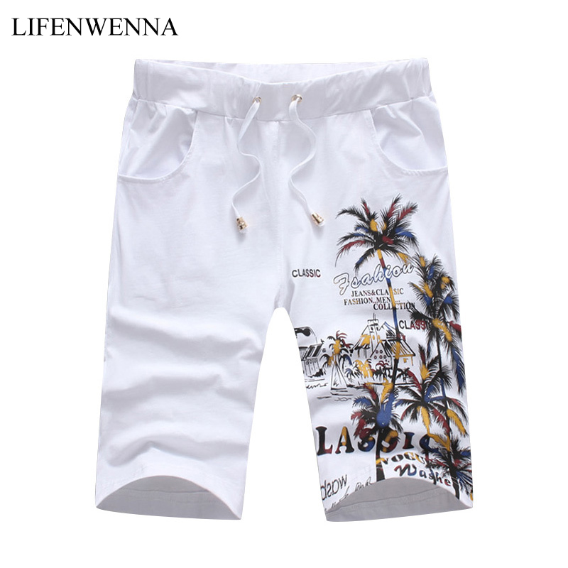 2018 New Fashion Summer Shorts Men Casual Coconut Island Printed Shorts For Men Chinese Style Elastic Waist Slim Fit Short M-5XL