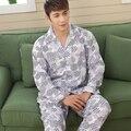 O Envio gratuito de Alta Qualidade dos homens de Manga Comprida Turn-down Collar Sleepwear Conjunto Pijama Camisola Homewear Outono de Algodão Macio