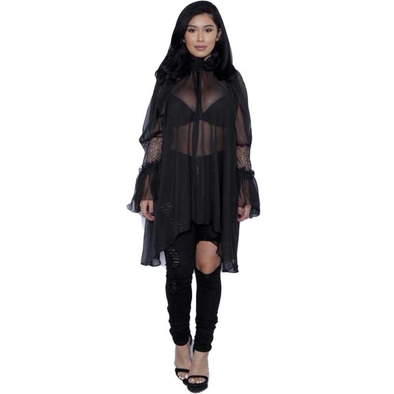 Sexy Sheer Women Blouse Long Ruffles Sleeve Blusas Shirts