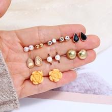 купить 18pc/set Crystal Flower Pearl Stud Earrings for Women Vintage Cute Resin Rhinestone Gold Moon Heart  Earrings Christmas Jewelry дешево