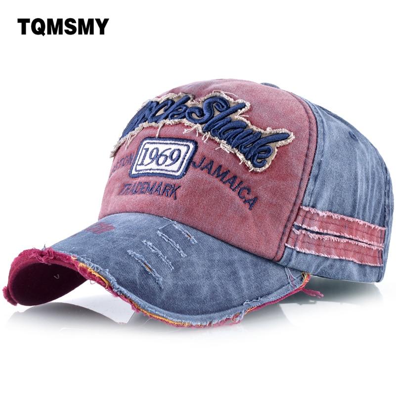 TQMSMY Washed Denim Men Cotton Baseball Caps Letter Dad Cap Women Snapback Caps Bone Hats For Men Baseball Hat Gorras TMBS71