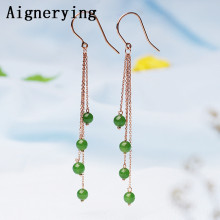 18K Gold Earings Certificate natural Green  jade gift with box stud Earing hoop jewelry