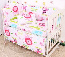 Promotion! 6pcs 100% Cotton Cute Baby Bedding Set For Children ,include (bumpers+sheet+pillow cover)