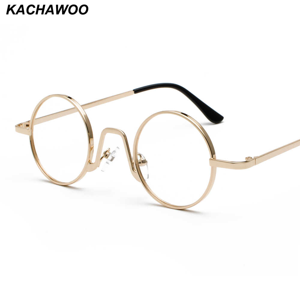 d4d1b9f4a11af Kachawoo Vintage Retro Round Circle Metal Frame Eyeglasses Women Small Glasses  Frame Men Nerd Decoration Dropship