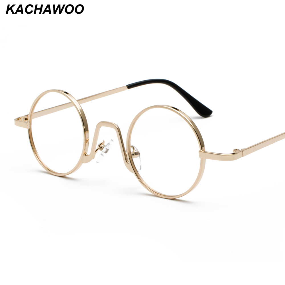 Kachawoo Vintage Retro Round Circle Metal Frame Eyeglasses Women Small Glasses Frame Men Nerd Decoration