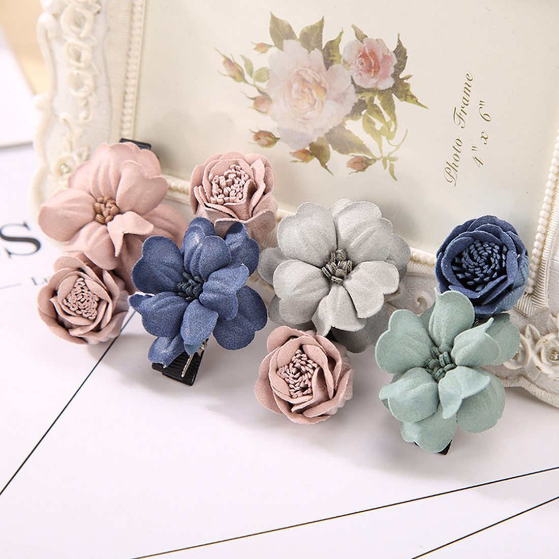 Charming Flower Embossed Simulation 3D Hairpins Beauty Hair Accessories For Women Girls Elegant Hairgrips Hair Clip