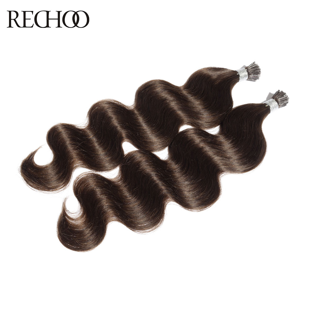 Rechoo Pre Bonded I Tip Non Remy Human Hair 1g strand Hair Body Wave Stick I