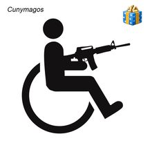 Cunymagos Handicapped Wheelchair Gun Creative Vinyl Car-Styling Stickers Decals Car Body Window Decal Stickers Funny 15cm*16cm(China)