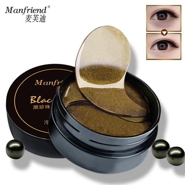 Manfriend preto pérola ouro Gel máscara de olho 60 PCS remover escuro círculo olho bolsa Anti rugas luxo tapa olhos umidade branqueamento