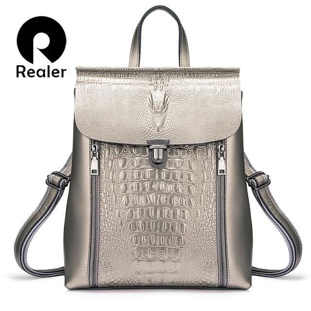 REALER рюкзак женский кожаный рюкзак из спилка школьные рюкзаки для девочек подростков для книг Водонепроницаемая большая дорожная сумка серебристый/розовый