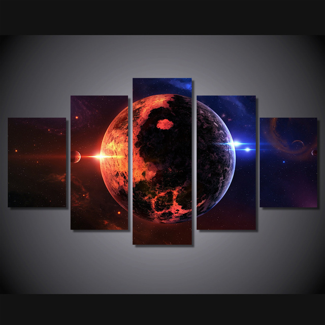 Wall Art Canvas Painting 5Pcs Space Wide Planet Modular Pictures ...