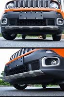 MONTFORD Auto Partie Pour Jeep Renegade 2014-2017 En Alliage D'aluminium Avant Arrière Diffuseur Garde Bumper Protector Plaque de protection Pare-chocs couverture