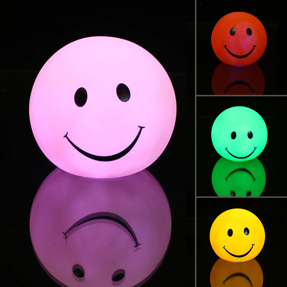 1 Pcs Night Light changable Color Round Smile Face LED Night Light Lamp Great Gift for Kids