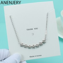 ANENJERY Two Color Korean Sweet 925 Sterling Silver Zircon Flower Daisy Necklaces For Women Girl Gift Choker S-N429(China)
